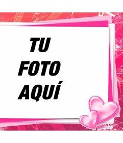 Marco rosa para editar con tu foto una tarjeta de amor con corazones