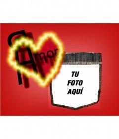 Postal de San Valentín, fondo de color rojo con un corazón. Personalizalá con tu foto