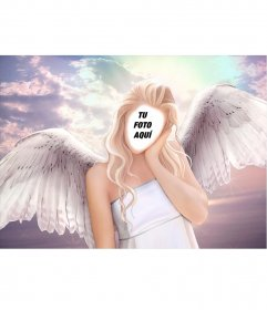 Fotomontaje en el cuerpo de un ángel con cabello rubio y largo