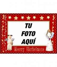 Marco para fotos de navidad con angelitos, y estrellas para enviar como felicitación