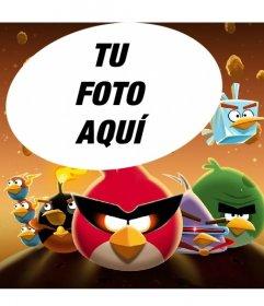 Collage con marco de fotos infantil de Angry Birds en el espacio con los pájaros disfrazados!