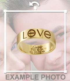 Sticker de un anillo con el texto LOVE grabado para poner junto con la imagen que subas