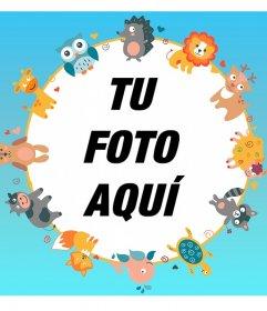 Marco infantil para una foto con diversos dibujos de animales