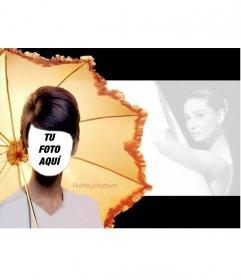 Fotomontaje de Audrey Hepburn en una famosa imagen suya