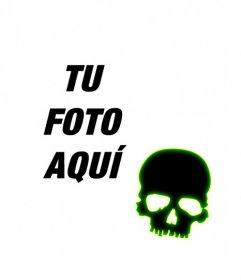 Crea un avatar para facebook y twitter con una calavera negra con borde verde fluorescente sobre una foto que subas