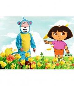 Fotomontaje de disfraz del monito de Dora la Exploradora para editar