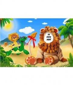 Fotomontaje de un disfraz de león para niños donde puedes modificarlo con tu foto