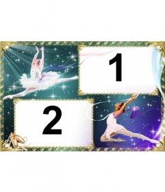 Marco para dos fotos con fondo de estrellas y bailarinas de ballet