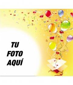 Marco para fotos con motivo de fiesta de cumpleaños, de fondo amarillo y con serpentinas, estrellas y globos de colores saliendo de una caja de regalo