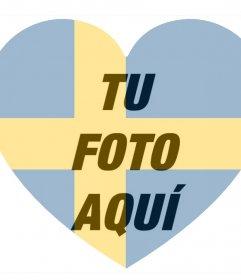 Bandera de Suecia en forma de corazón para añadir como filtro a tus fotos