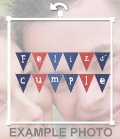 Sticker de banderines de Feliz Cumpleaños para tu foto