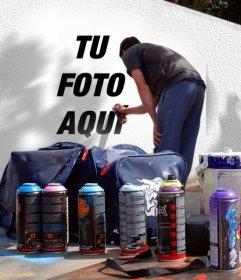 Foto montaje para poner tu foto en un grafitti callejero. Puedes utilizar una de tus fotos parea crear este montaje