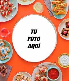 Pon tu foto en un plato de comida rodeado de más platos con alimentos