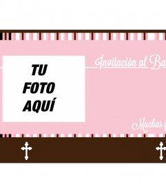 Postal con detalles rosas para invitar a un bautizo