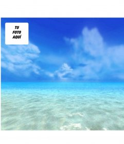 Fondo para pantallas en el que tu foto aparecerá con un fondo de cielo y mar azules