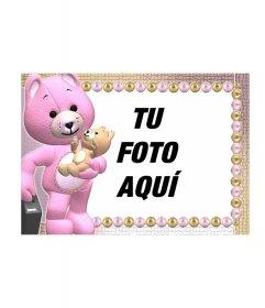 Marco para fotos de osos de peluche uno naranja u el otro rosa