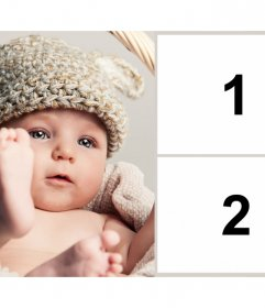 Marco para dos fotos con un precioso bebé para anunciar un embarazo