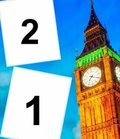 Postal para poner dos fotos del big ben de Londres que puedes hacer online con tus fotos