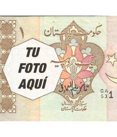 Fotomontaje con un billete de una rupia