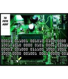Fondo para para poner tu foto de circuito electrónico y números binarios