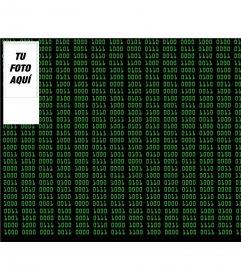 Fondo de números binarios como matrix personalizable con una foto online