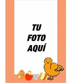 Marco fotográfico de pollito y huevos pintados, perfecto para niños