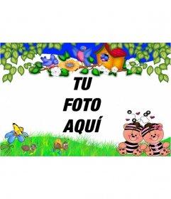 Marco para niños de ositos felices con bordes verdes y de flores