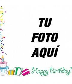 Marco de fotos con el texto HAPPY BIRTHDAY con adornos, globos y regalos de cumpleaños