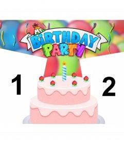 Sube dos fotos a este efecto colorido de BIRTHDAY PARTY