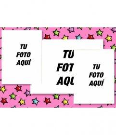 Tarjeta personalizada de cumpleaños con 3 fotos. Fondo rosa con estrellas de colores