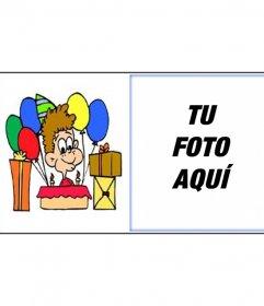 Postal de cumpleaños con imagen de niño con regalos para enviar por email