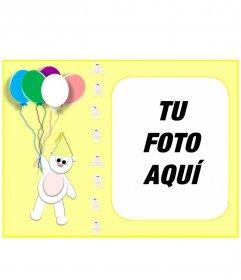 Tarjeta de cumpleaños color amarillo personalizable con tu foto, con un osito y globos