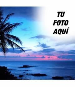 Montaje para fotos en un paisaje de costa idílico y cielo azul