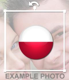 Bandera de Polonia en forma de círculo para pegar en tus imágenes