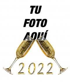 Efecto para felicitar el año nuevo con copas de champan