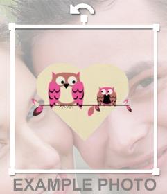 Sticker de buho papa e hijo de color rosa con fondo con forma de corazón para poner en tus fotos
