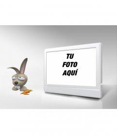 Marco de fotos de televisión y conejo. Personalizalo con tu foto!