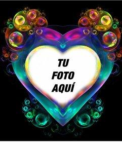 Fotoefecto de burbujas del color del arcoíris para poner tu foto dentro del corazón