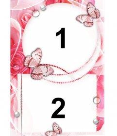 Marco para dos fotos de amor con ornamentos de rosas y mariposas