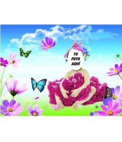 Disfraz online para bebes en el que aparecen una mariposa azul y otra verde, en lo que imita un prado, con flores en primer plano y un cielo azul claro con nubes blancas