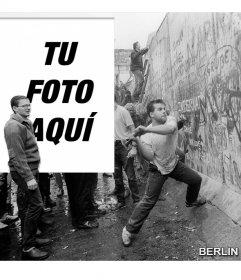 Fotomontaje de la caída del muro de Berlín en 1989 para poner tu foto junto a la foto