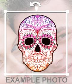 Sticker de una calavera colorida para tus imágenes
