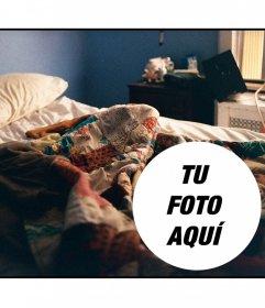 Collage para poner una foto en una escena de despertar con una cama deshecha