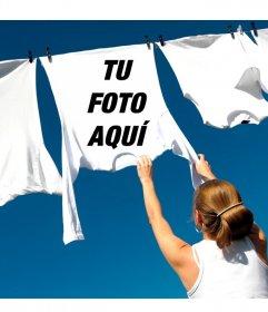 Foto montaje para poner tu imagen en una camiseta blanca tendida