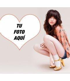 Fotomontaje con Carly Rae y tu foto en un corazón