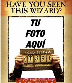 Montaje con un cartel de busca y captura en versión mago