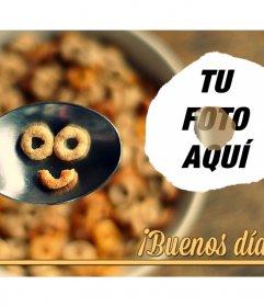 Collage de buenos días con cereales haciendo una cara sonriente