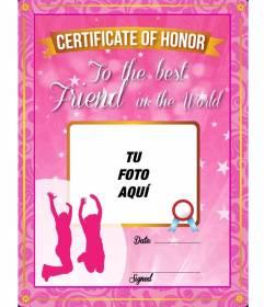 Certificado rosa con brillos para regalar a tu mejor amiga y poner una foto y texto online