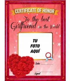 Diploma con foto para el mejor novio o novia del mundo