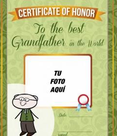 Fotomontaje gratuito personalizado para el mejor abuelo del mundo